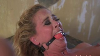 Spread bdsm sub sucks cock before anal fucking