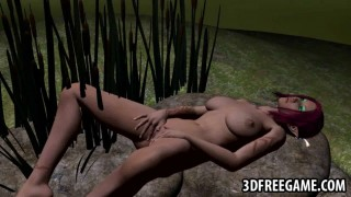 Foxy 3D redhead honey feels herself up outdoors
