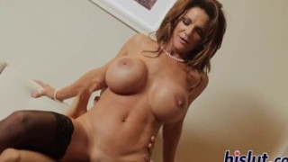 Busty MILF in stockings gets fucked hard