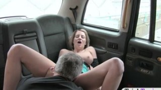 Busty blonde woman sucks off and ass fucked in the cab