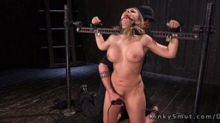 Busty blonde can not resist to different torments