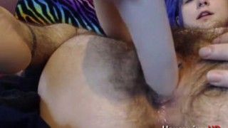 Unshaved chubby fucks her pierced wet pussy