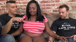 Chubby black babe spunked